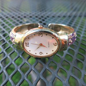 Purple Gold Crystals Hinged Bangle Watch